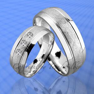Details zu 2 Silber Ringe Trauringe m. 3 Stein inkl. Gravur J69-3