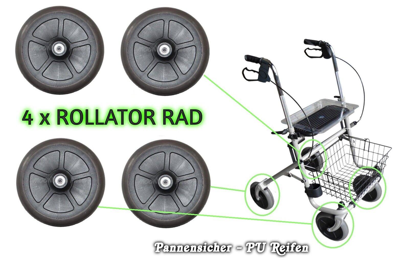 200x50 mm 4St. Rollator PU-Reifen Ersatzräder Gehwagen Vollgummi Rad ...
