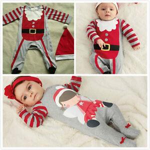 2 st ck weihnachten jungen m dchen s ugling baby strampler kleidung hut ebay. Black Bedroom Furniture Sets. Home Design Ideas