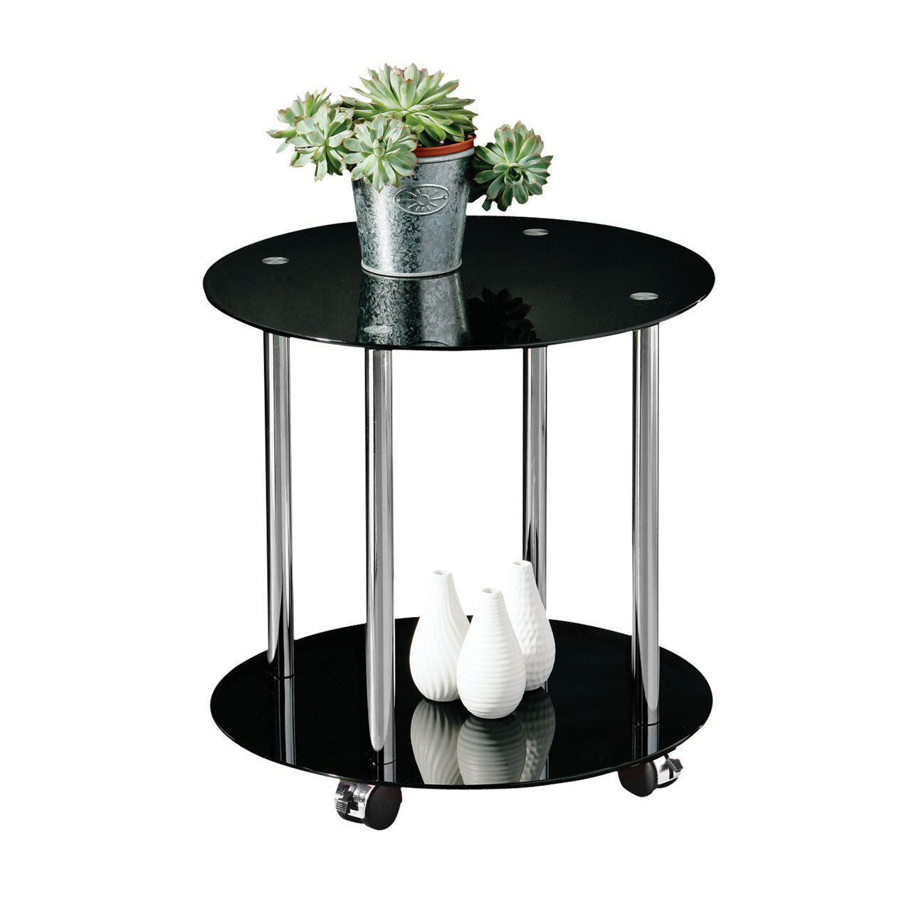 ... Table on castor wheels with black glass and chrome finish metal frame