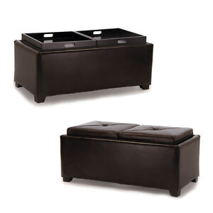 Details About 2 Tray Top Brown Leather Storage Ottoman Coffee Table