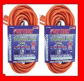 2 Two 25' Foot Outlet Electrical Extension Power Cord