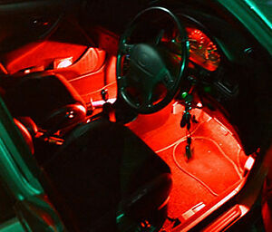 2 ultra bright interior in car red led lights neons ebay. Black Bedroom Furniture Sets. Home Design Ideas
