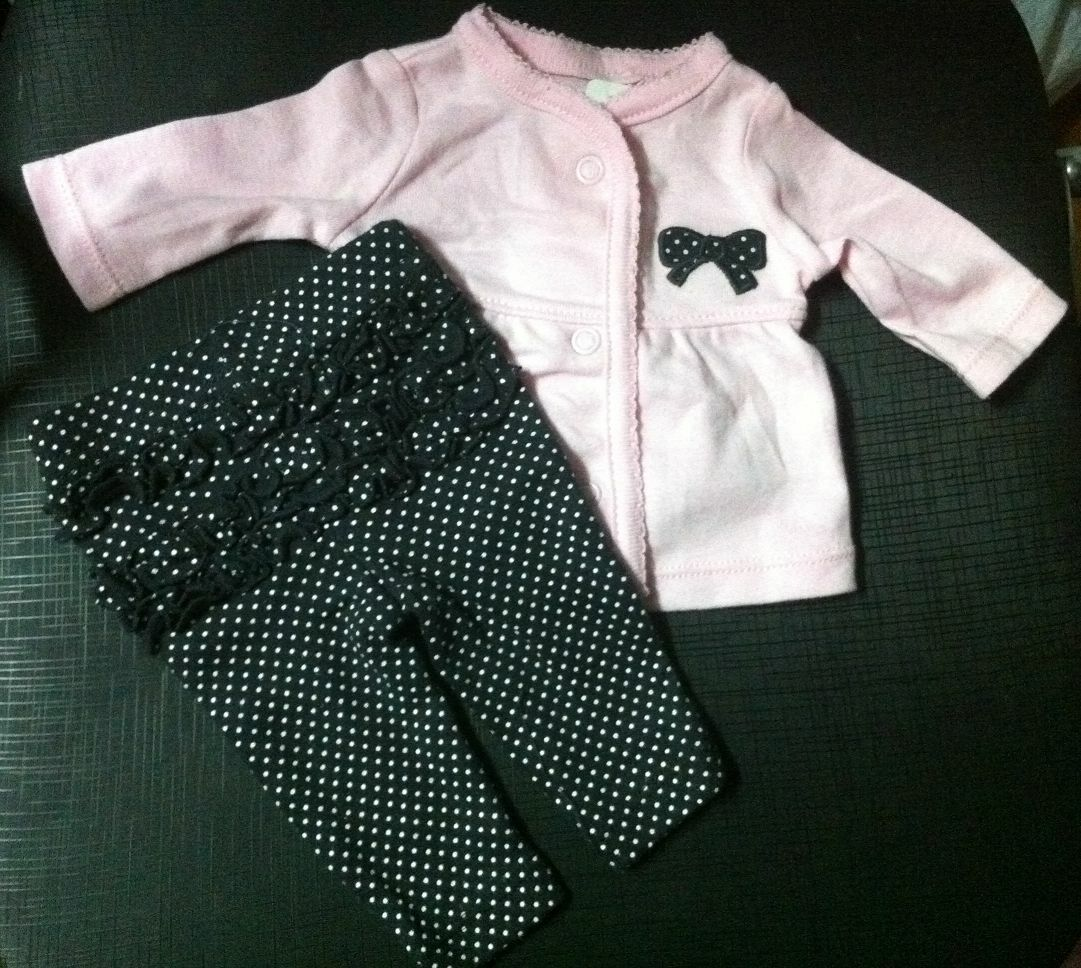 2 Pcs Carters Preemie Girl Bodysuits Pants Reborn Doll Clothes Baby Clothes