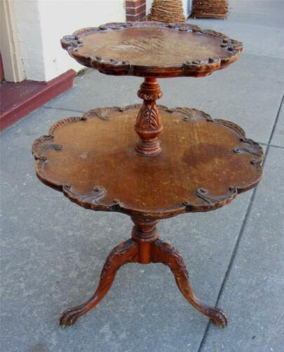 2 tiered Beautiful ANTIQUE Handcarved Round Accent TABLE solid wood! in Antiques, Furniture, Tables | eBay