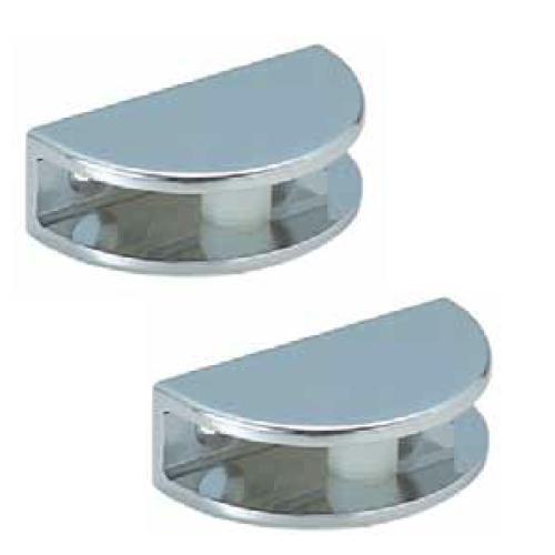 2 x polished chrome glass shelf support clamp brackets bathroom for shelves ebay. Black Bedroom Furniture Sets. Home Design Ideas