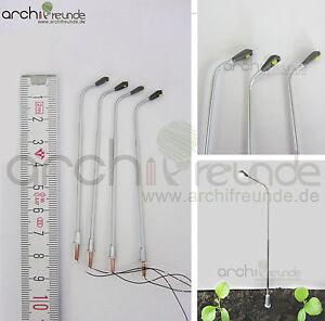 2-x-LED-moderne-Kupfer-Strassenlampe-silber-7-5cm-Modellbau-1-100-1-87-Spur-TT-H0