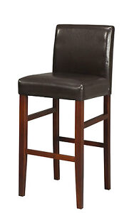 2-x-Padded-Bar-Stools-Faux-Leather-Wooden-legs-Parsons-style-Kitchen-Breakfast
