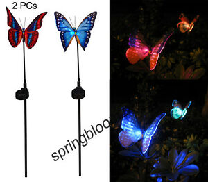 2 x solar faser schmetterlinge lampe rgb led leuchten garten deko beleuchtung ebay. Black Bedroom Furniture Sets. Home Design Ideas