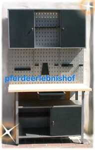 2 x werkbank werkzeug schrank werkstatt schrank grau metall holz neu trendhof ebay. Black Bedroom Furniture Sets. Home Design Ideas