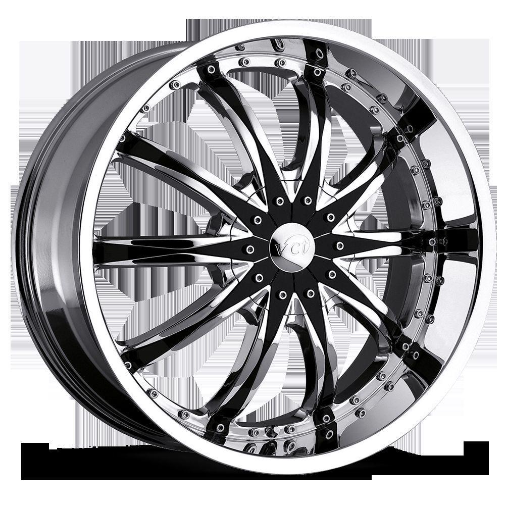 """20"""" 22"""" 24"""" VCT Abruzzi Chrome Black Wheels Dodge Charger Challenger Rims"""
