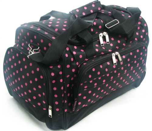 "20"" 40LB. CAP BLACK WITH PINK POLKA DOTS DUFFLE BAG/ GYM BAG / LUGGAGE/ CARRY ON in Travel, Luggage 