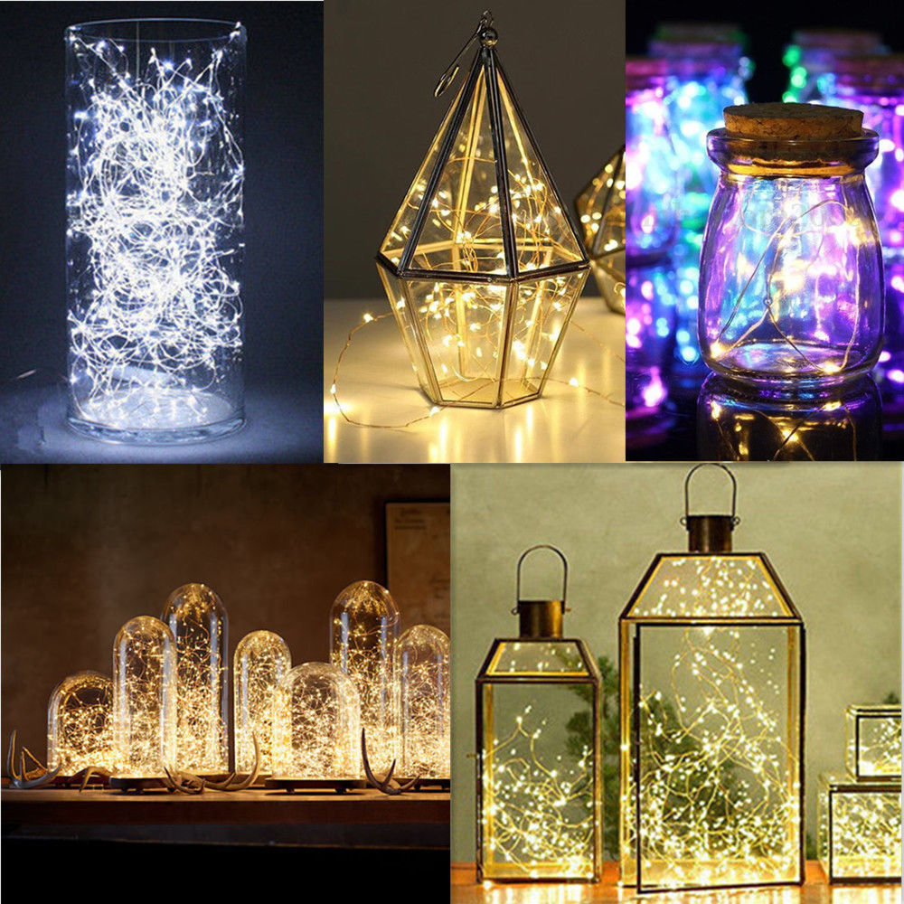 20 50 100 led string copper wire fairy lights battery. Black Bedroom Furniture Sets. Home Design Ideas