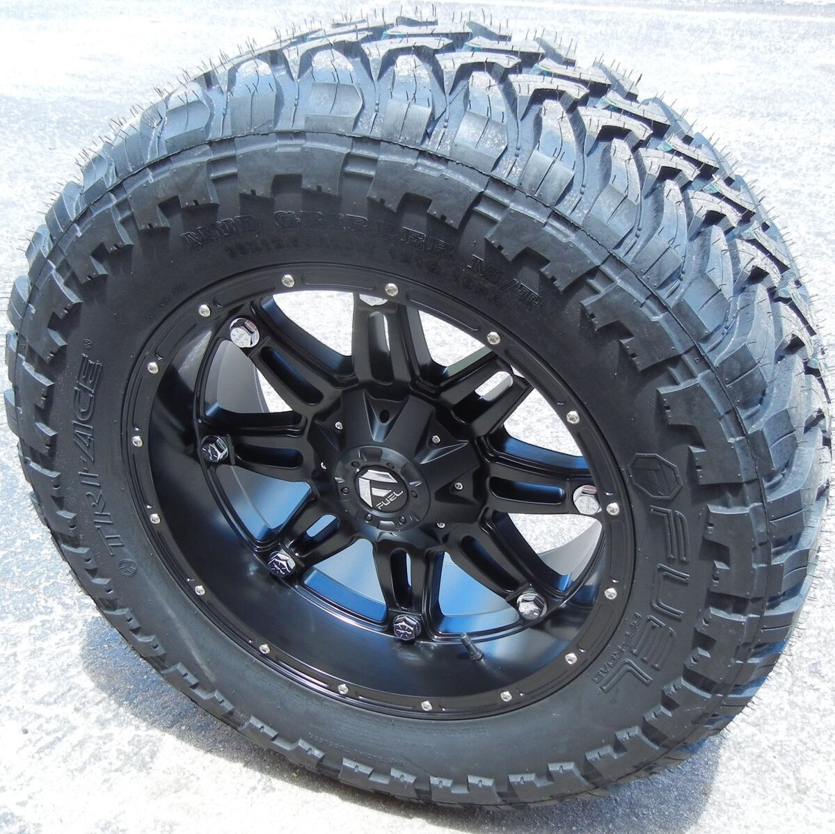 "20"" Black Fuel Hostage Wheels Rims 35"" M T Tires Chevy 1500 GMC Sierra Ford F150"
