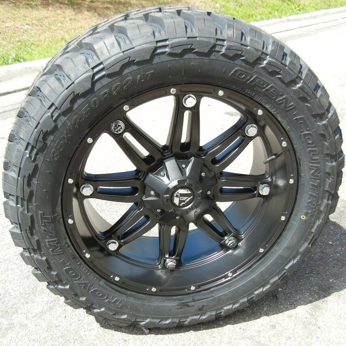 "20"" Black Fuel Hostage Wheels Toyo MT Tires Set of 5JEEP Wrangler JK Rubicon"