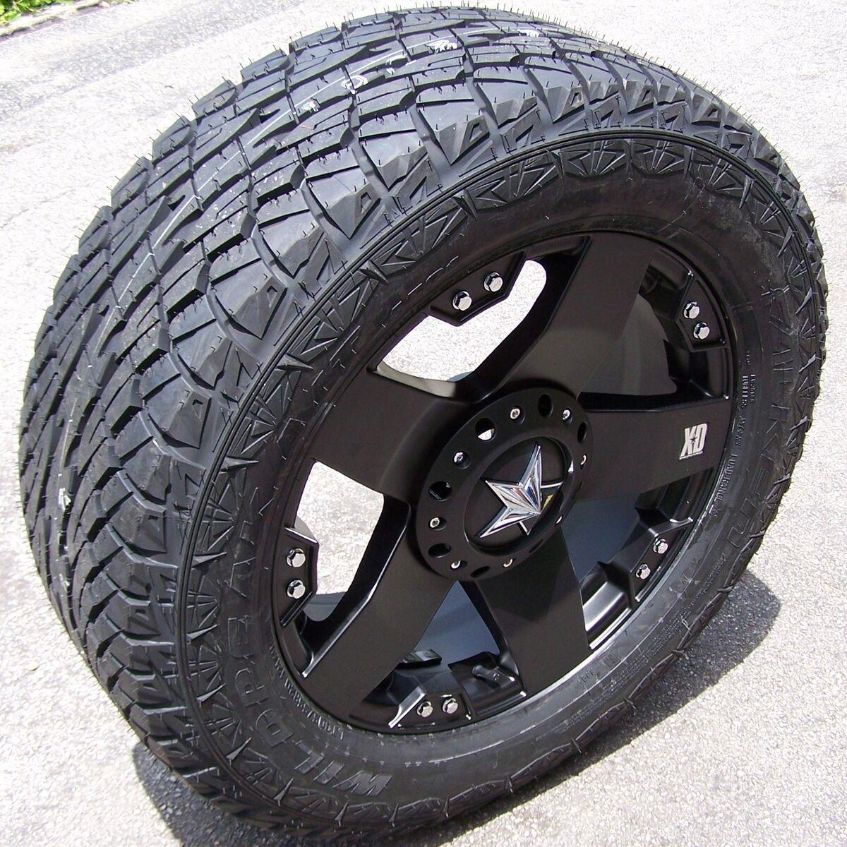 20 Black Rockstar Wheels Falken Wild Peak at Tires Chevy Silverado