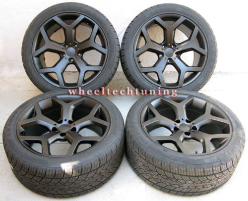 X5 3 0 4 4 4 8 X6 STAGGERED BLACK WHEELS AND RUN FLAT TIRES BMW RIMS