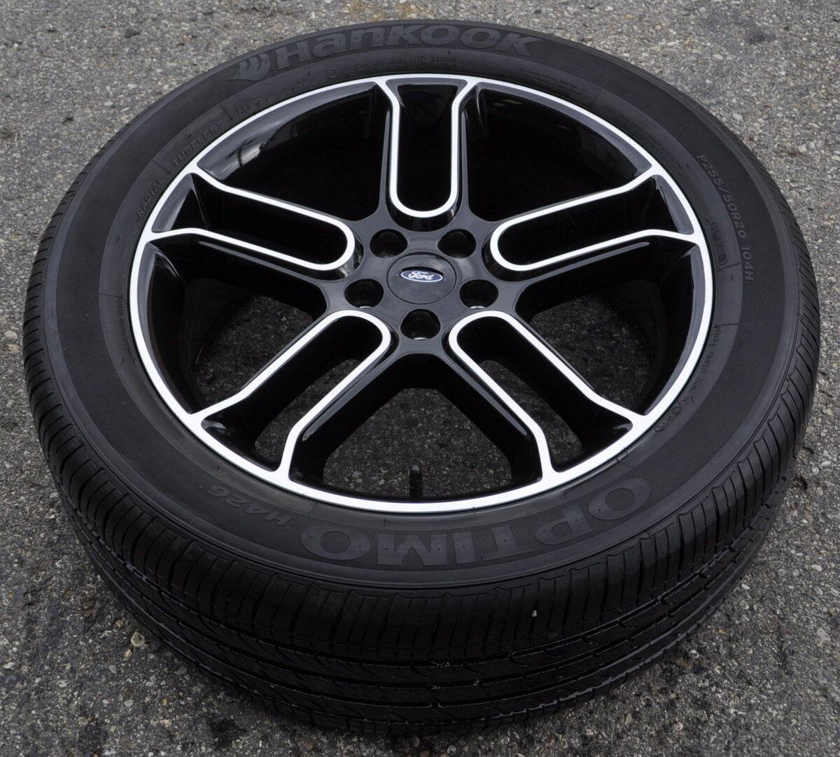 "20"" Ford Explorer Black Wheels Rims Tires 2011 2012 2013 2014 Factory Rims"