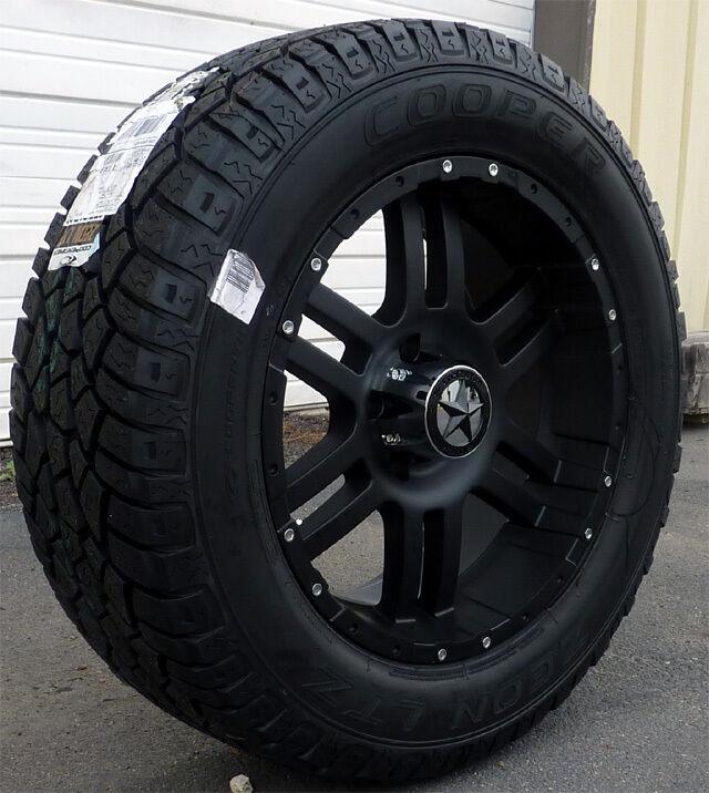 20 Flat Black Wheels Tires Chevy 1500 Tahoe 20x9 Matte Black 20 inch
