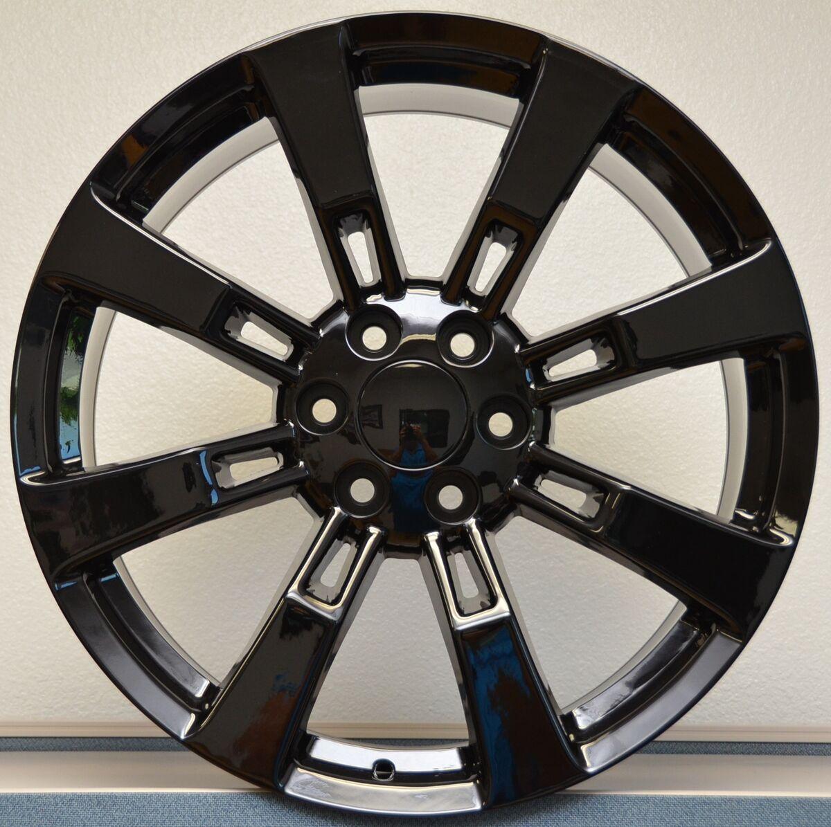 Denali Escalade Sierra Yukon Tahoe Wheels Rims Set Gloss Black