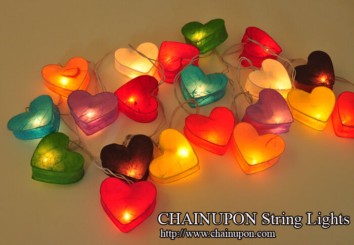 heart lantern string decoration home teen girl bedroom idea wedding gift lights ebay. Black Bedroom Furniture Sets. Home Design Ideas