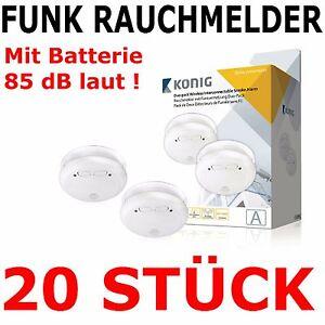 20 st ck funk rauchmelder set alarm schnurlos verkn pfbar vernetzt batterie ebay. Black Bedroom Furniture Sets. Home Design Ideas