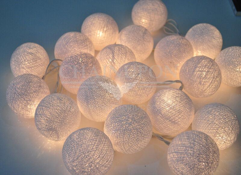 20 white cotton ball string lights handmade decor happy. Black Bedroom Furniture Sets. Home Design Ideas