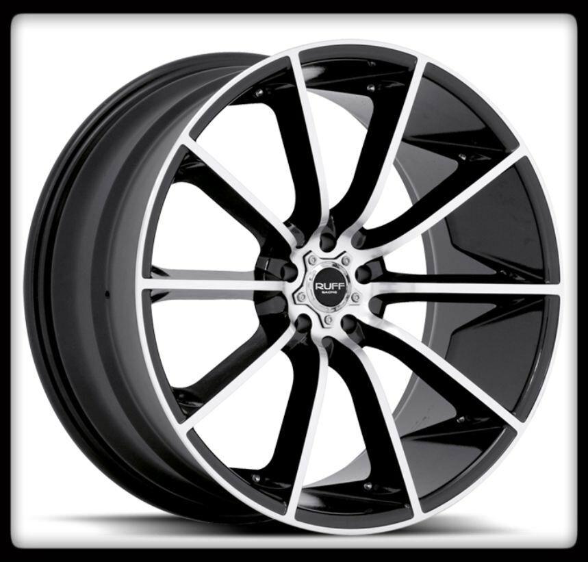 RUFF RACING R943 BLACK MACHINED CORVETTE MAXIMA ACCORD XB WHEELS RIMS