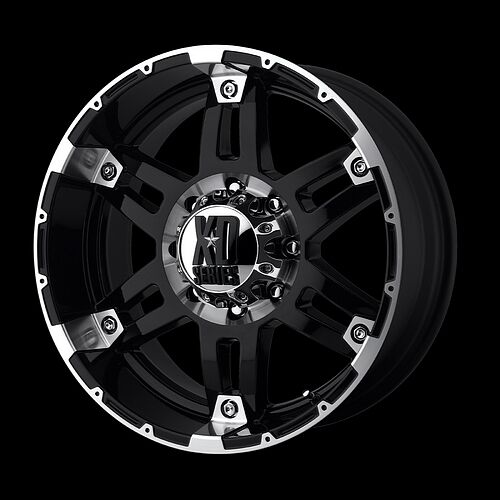 20 x 9 KMC XD Series XD797 Spy Gloss Black Machined Wheels Rims
