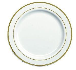20 x white 9 strong plastic dinner plates gold trim ebay