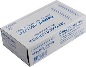 200-Lanzetten-Blutlanzetten-aus-Metall-einzeln-steril-verpackt-Romed-Medical