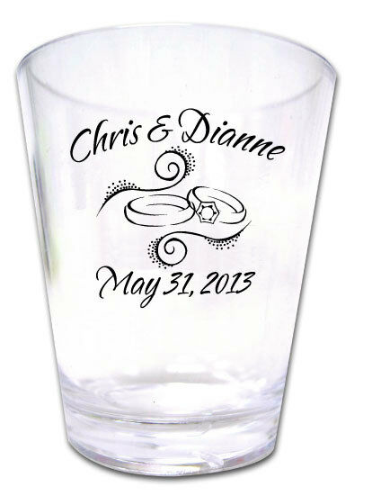 200 PERSONALIZED Rings Wedding Favor Shot Glasses NEW eBay