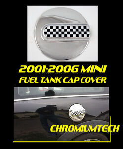 2001-2006-BMW-Mini-Cooper-ONE-CHROME-Fuel-Cap-Tank-Cover-Chequered-R50-R52