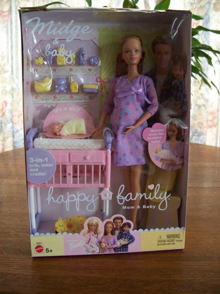 2002 Pregnant Midge Baby Barbie Doll Happy Family Mom Baby