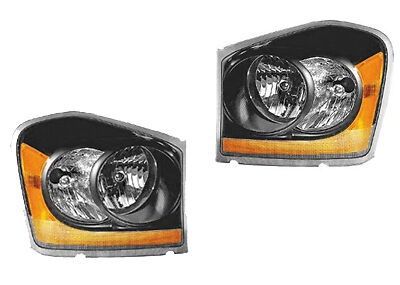 2004 2005 Dodge Durango New Euro Black Performance Headlight Embly Pair