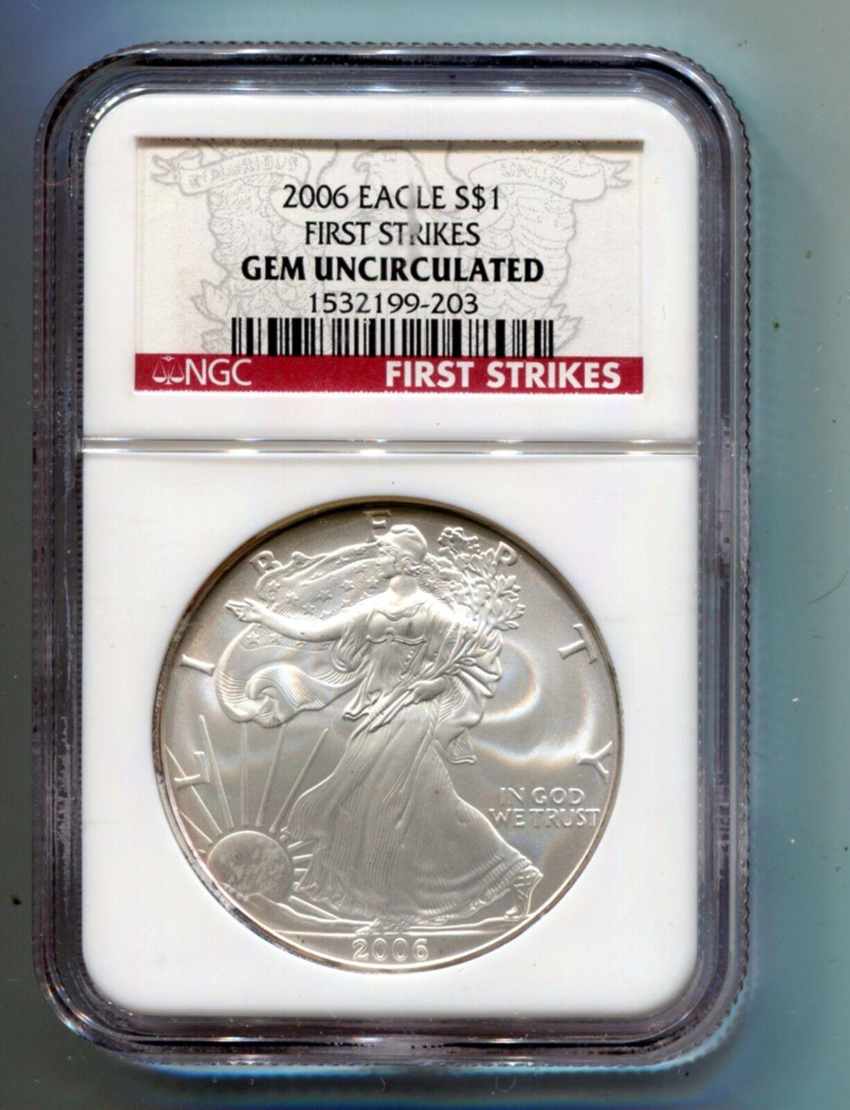 2006 American Silver Eagle Coin 999 1 Oz Ngc Gem