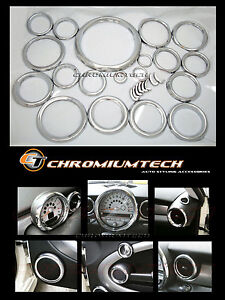 2007 And Up Bmw Mini Cooper R55 R56 R57 Chrome Interior Dial Trim Kit 27pc New Ebay