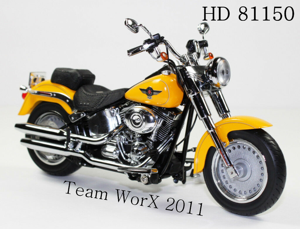 Davidson Fat Boy Diecast Motorcycle 112 Chrome Yellow 81150