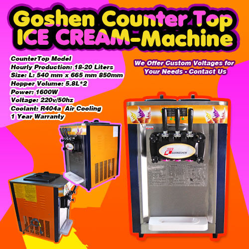 2012 Factory Direct Commercial Countertop Goshen Ice Cream Machine