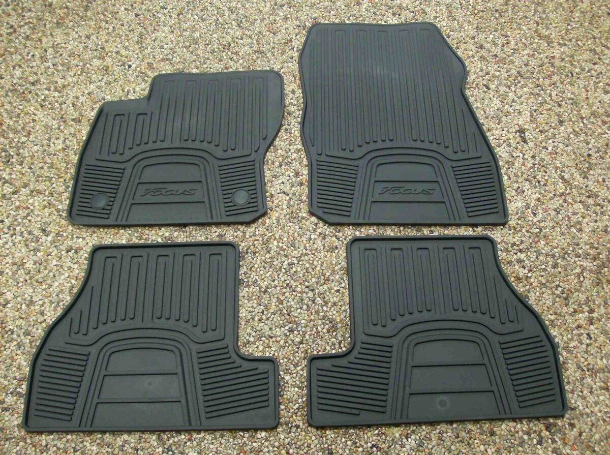 2012 Focus Genuine Ford Parts Black Rubber All Weather Floor Mat Set 4 PC