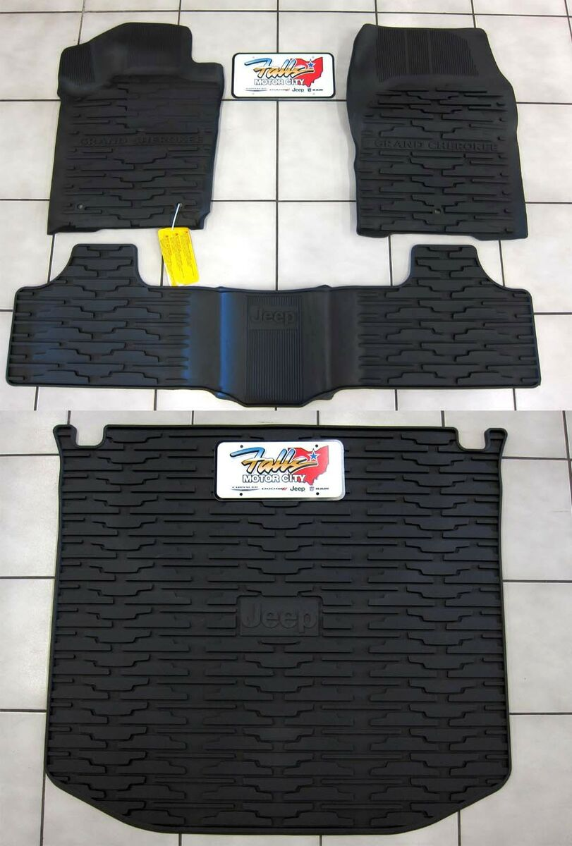 2013 2014 Jeep Grand Cherokee Rubber Slush Floor Mats Cargo Tray Liner Set