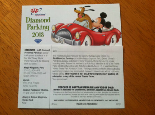 2013 AAA Diamond Pass Disney World VIP Parking Pass in Tickets, Other | eBay