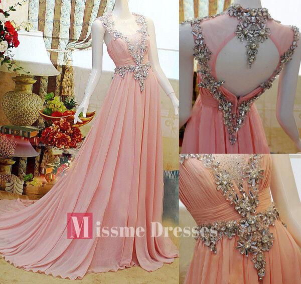 2013 Beads SWAROVSKI Luxury Crystal Chiffon Gowns Prom Long Evening Dresses