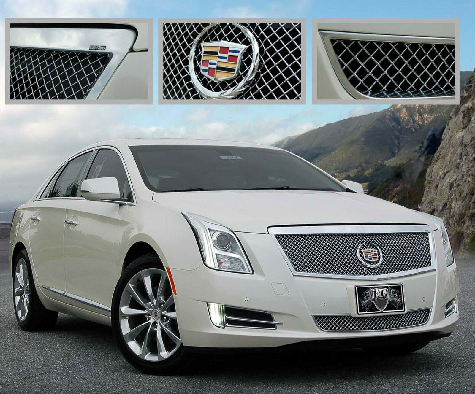 2013 2014 cadillac xts luxury 2pc fine mesh grille grill. Black Bedroom Furniture Sets. Home Design Ideas
