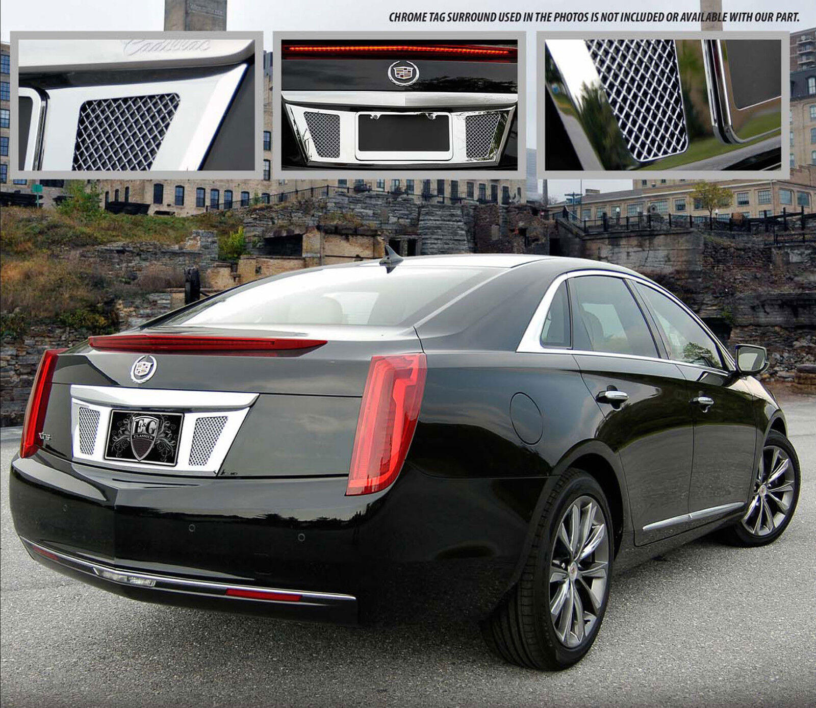 2013 2014 cadillac xts rear tag surround with mesh insert. Black Bedroom Furniture Sets. Home Design Ideas