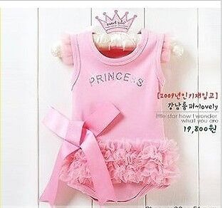 2013 Hot Kid Baby Girl Princess Romper Pink Dress Costume Clothes Outfit 6 12M