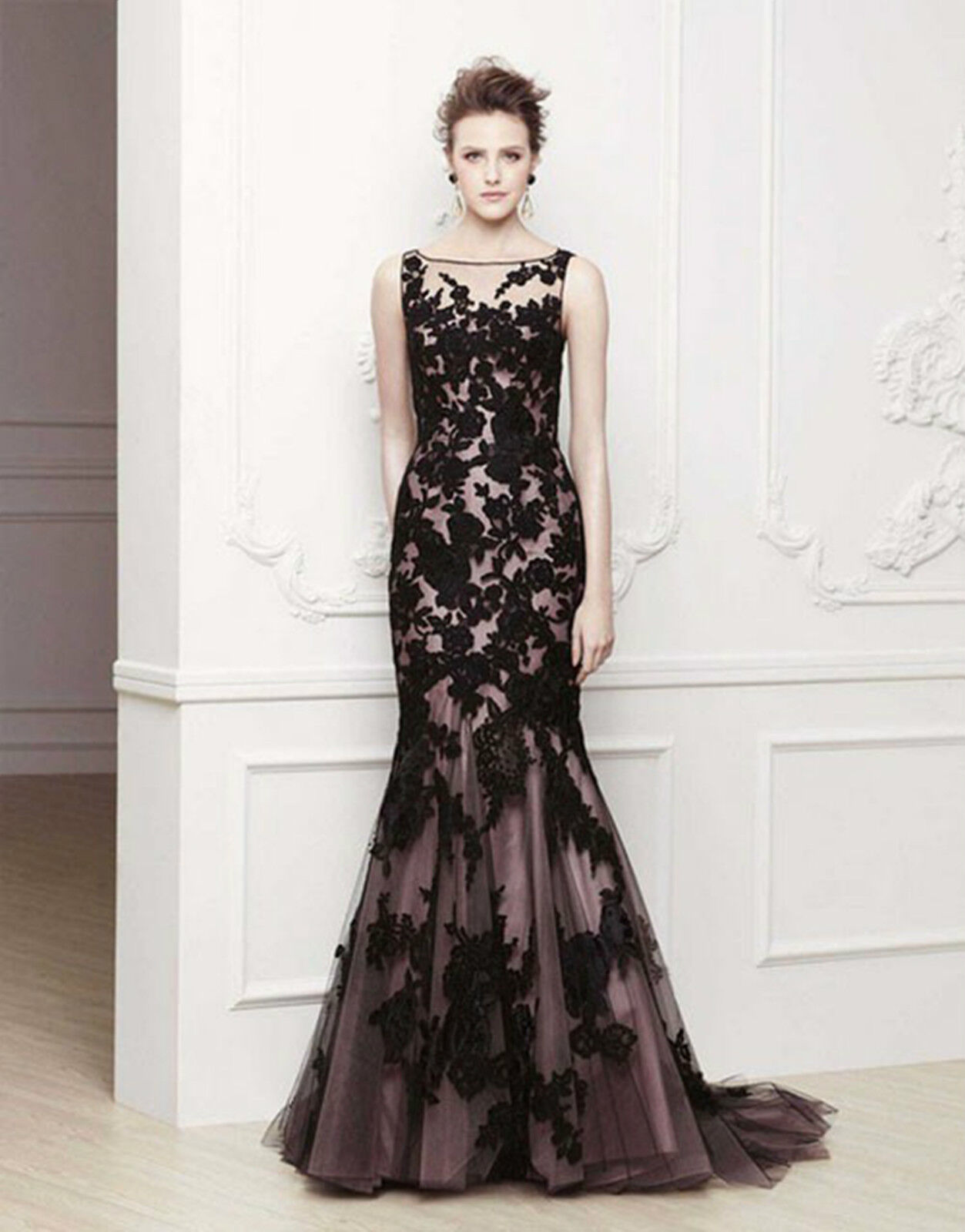 Long Black Applique Evening Formal Prom Party Cocktail Dresses Wedding Gown