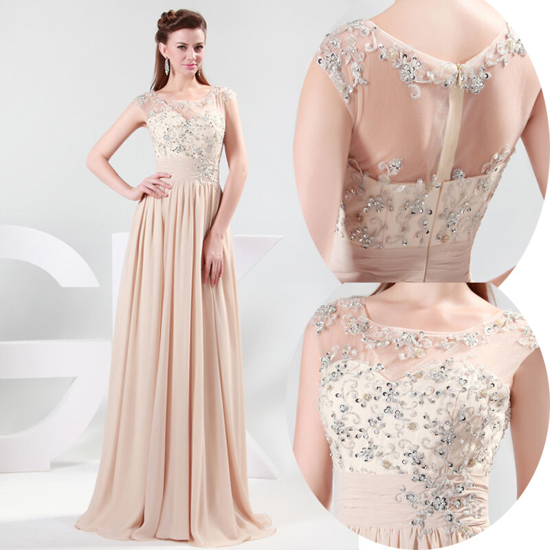 Long Chiffon Evening Formal Bridesmaid Wedding Ball Gown Prom Party Dresses