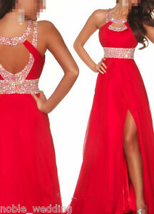 Cocktail Dress on Long Red Chiffon Evening Ball Cocktail Prom Dress Bridesmaid Dresses