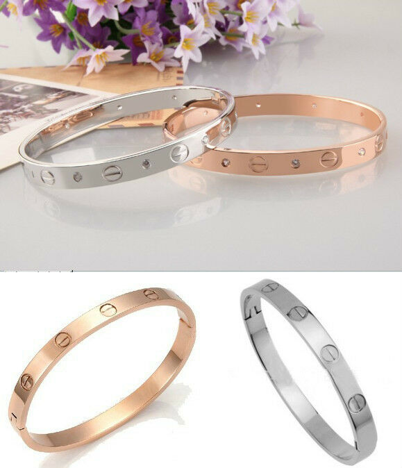 2013 Men's Women's Stainless Steel Silver/Rose Gold Screw Cuff Bangle Bracelet